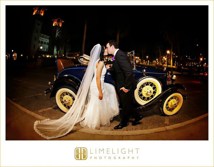 Groom classic car wedding dress white dress wedding wedding