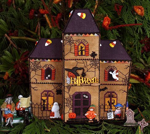 Gingerbread Haunted House by Victoria Sampler. One of a group of cute stitched houses.