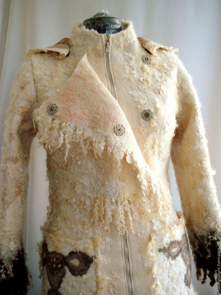 """Купить Куртка валяная """"Шаманка 2"""" - белый, куртка валяная, куртка теплая, женская куртка"""
