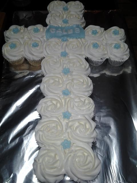 First Communion - * first communion cupcake cake. But in lavendar or pink