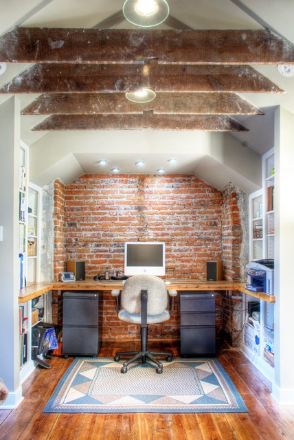 Gorgeous rustic feel. Love the updated office feel.: Offices Inspiration, Brick Wall, Offices Design, Offices Spaces, Work Spaces, Offices Workspace, Exposed Brick, Expo Brick Offices, Home Offices