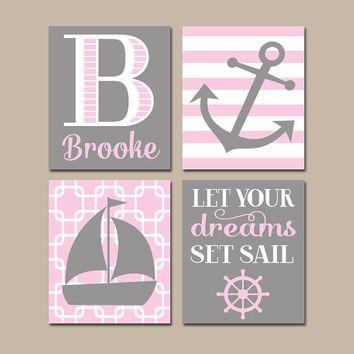 NAUTICAL Nursery Wall Art, CANVAS or Prints, Baby Girl Nursery Artwork, Pink Gray Bedroom Decor, Sailboat Anchor,Coastal Theme,Set of 4 Sail