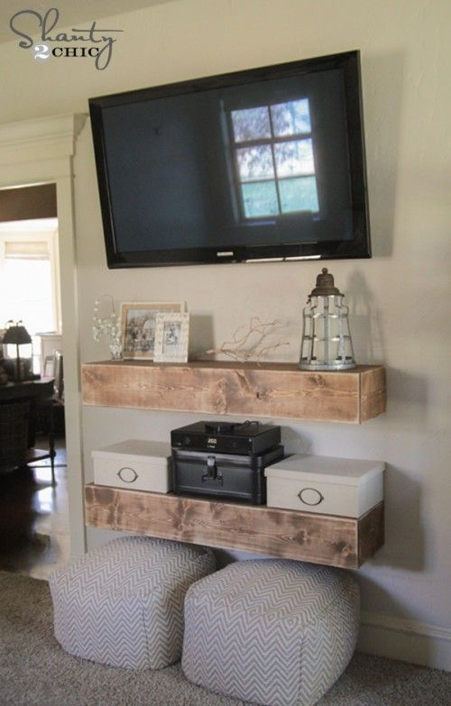 DIY Media Shelves. Tv On Wall ...