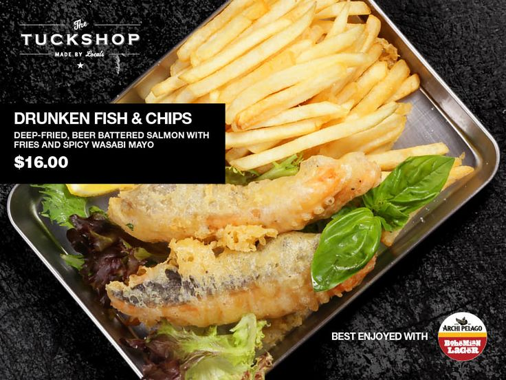 Drunken Fish & Chips  Deep Fried Beer-Battered Salmon with Fries & Spicy Wasabi Mayo