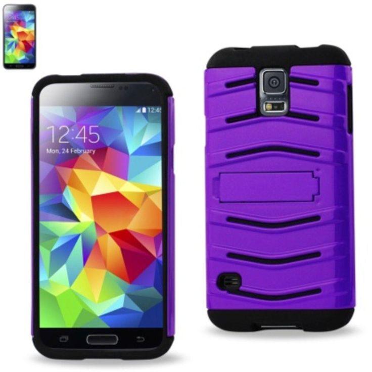 Reiko Fish Bone Pattern Hybrid Case For Samsung Galaxy S5 Black Purple With Horizontal Kickstand