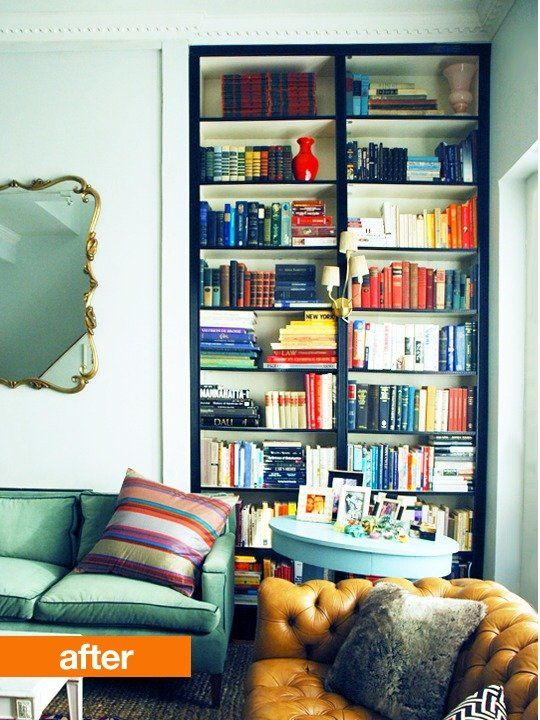 Before After Jennys Built In IKEA Billy Bookshelves Little Green Notebook