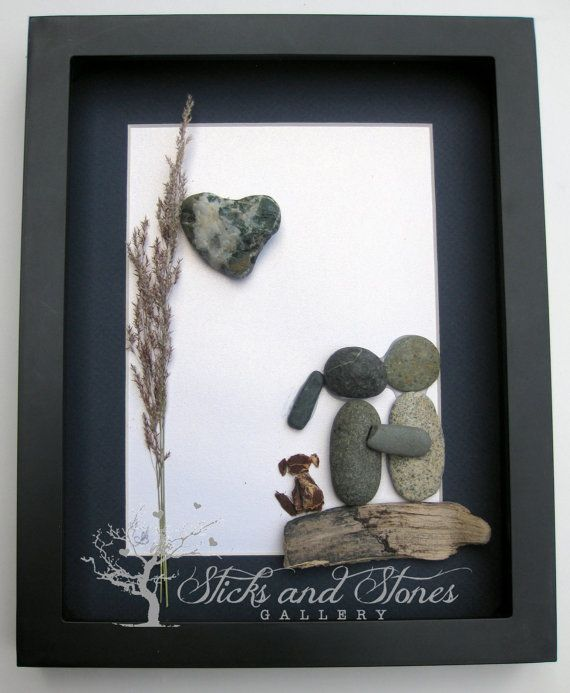 Pebble Art Couple with Dog  Engagement Gift Unique by SticksnStone