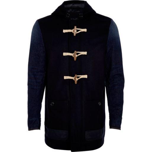 Navy denim sleeve duffle jacket