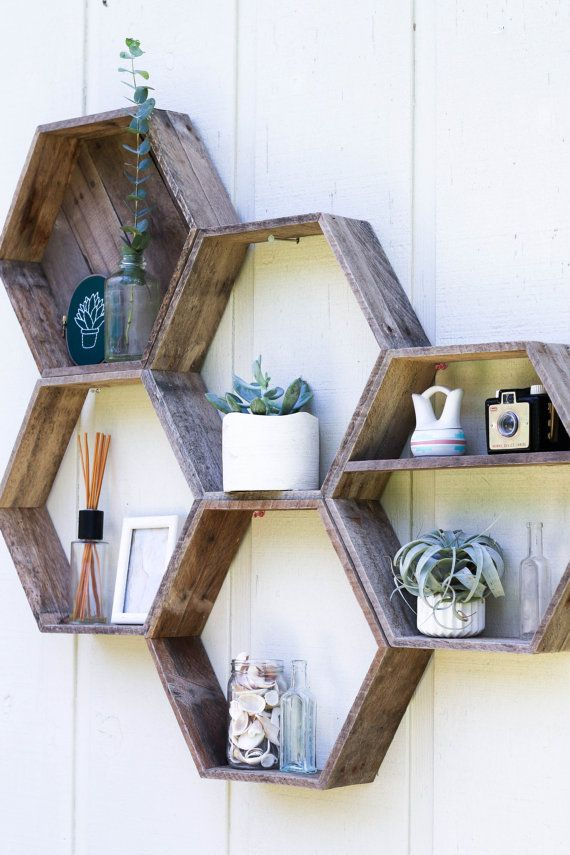 5 Hexagon Shelves// Pallet Shelf// by FernwehReclaimedWood on Etsy