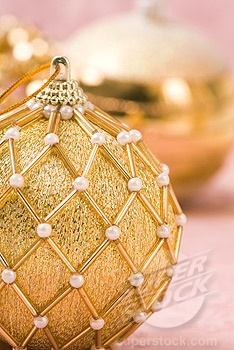 """stock photo of gold and """"pearl"""" beaded ornament."""
