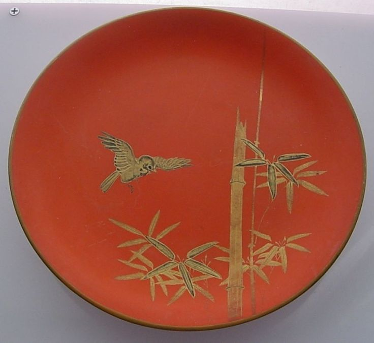 INCREDIBLY Exquisite JAPANESE Vintage HAND PAINTED Gold BIRD Lacquer WOOD Plate