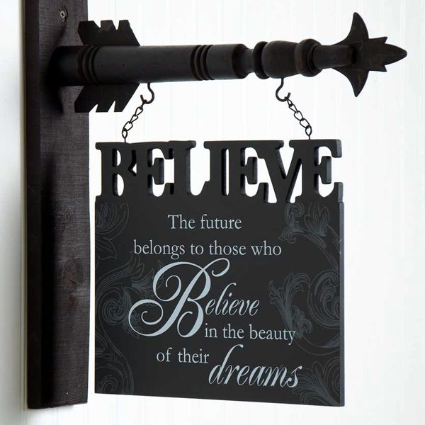 """Decorate your home with this seasonal hanger that says, """"The future belongs to those that believe in the beauty of their dreams""""."""