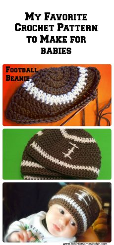 This FREE crochet football beanie pattern for babies is easy to do & makes the perfect gift!  I give one to every new baby I know.  It's simple to crochet & the babies just look adorable in them!