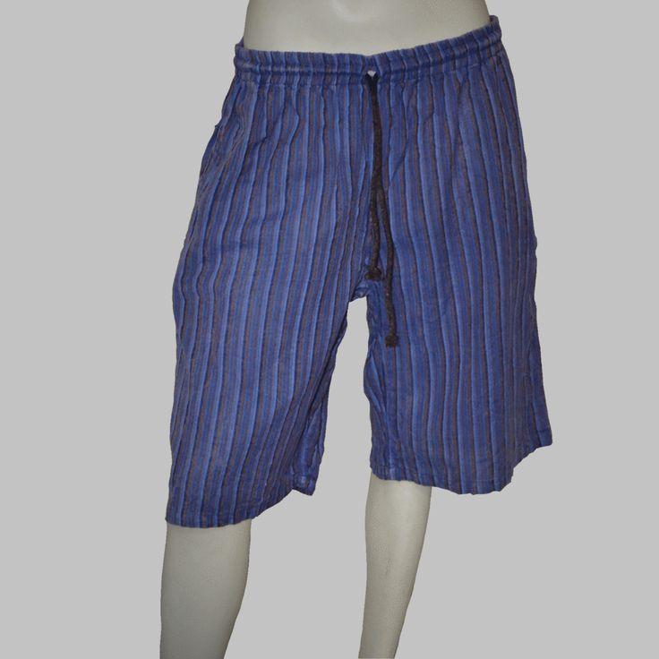 Striped Acid-Washed Shorts