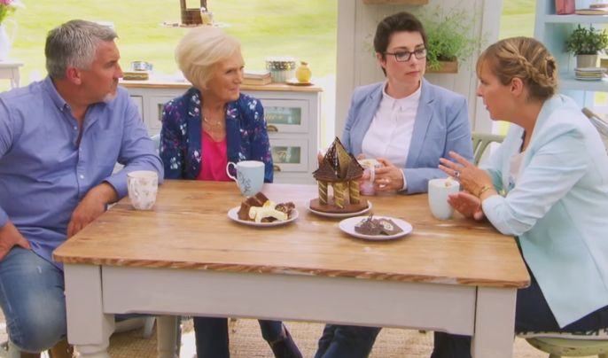 The semi finals of The Great British Bake Off!!! Some very creative show stoppers! Can't wait for next week's final! Paul, Mary, Sue and Mel drinking from the beautiful 100 years of Royal Albert mugs!