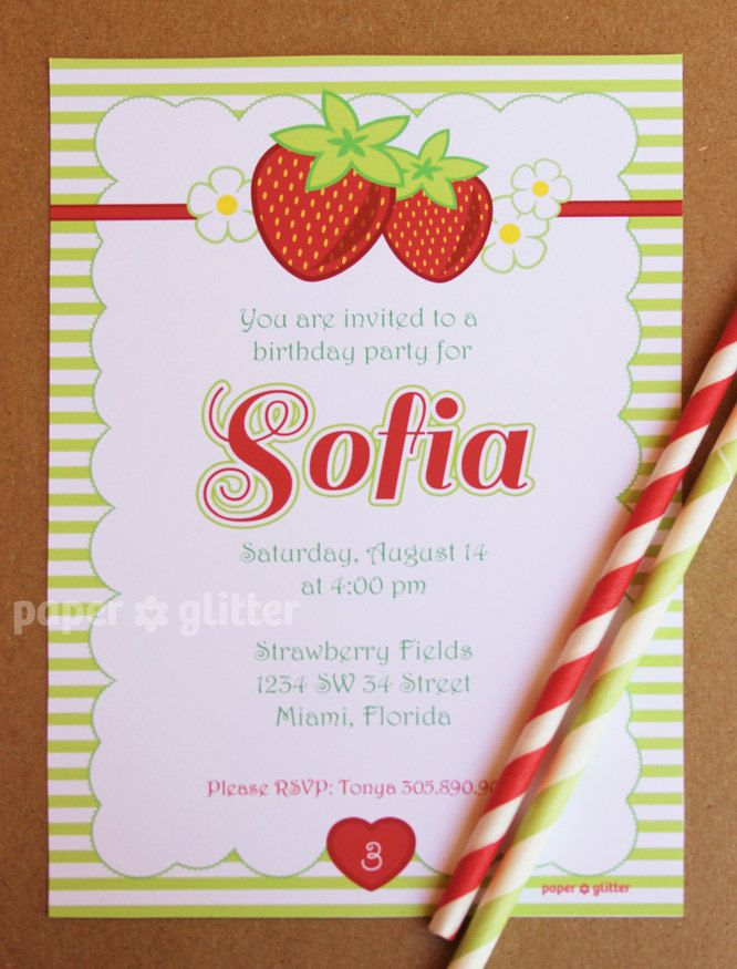 Strawberry Party Invitation for birthday or baby shower, not strawberry shortcake Invite or Thank You Card Printable PDF or JPG. $10.00, via Etsy.