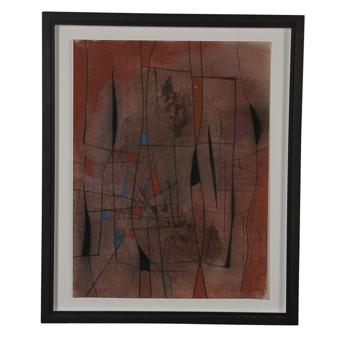 """A mixed media on paper """"Composition"""" by Caziel (1906-1988). Provenance: Whitford Fine Art, London. The measurements listed are not including the frame. Framed dimensions: 29.75 h x 25 w. CIRCA DATA: 1965 DIMENSIONS: 24"""" h x 19.5"""" w"""