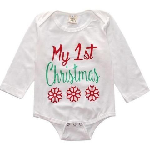 Baby Bodysuit Onesie - My First Christmas - Baby's first Christmas outfit – long sleeve growsuit romper - baby luno