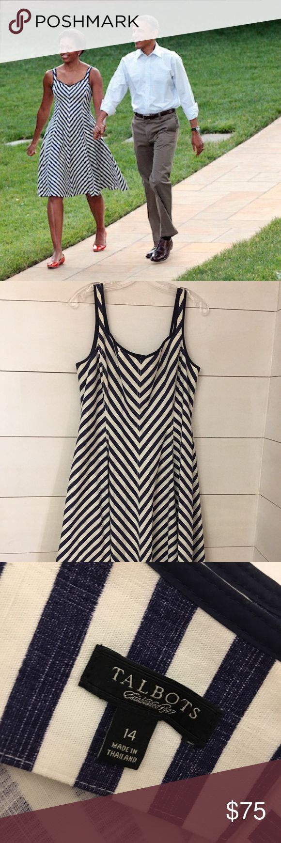 Talbots Shoreline Navy Chevron Striped Dress! Talbots Shoreline Navy Chevron Striped Dress! As seen on Michelle Obama!! Great dress for the spring and summer! It is missing the belt, but it can be worn without (Like Michelle's pic) or add a pop of color with a pretty ribbon or belt! Great condition! Size 14. Talbots Dresses Midi