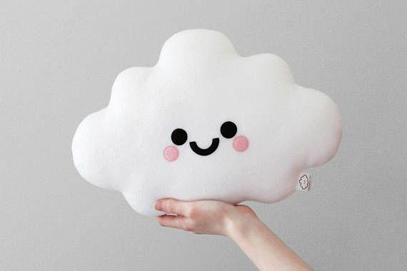 White Cloud Cushion, Happy Face Pillow, Kawaii Plush Pillow, Soft Plush Room Accessory