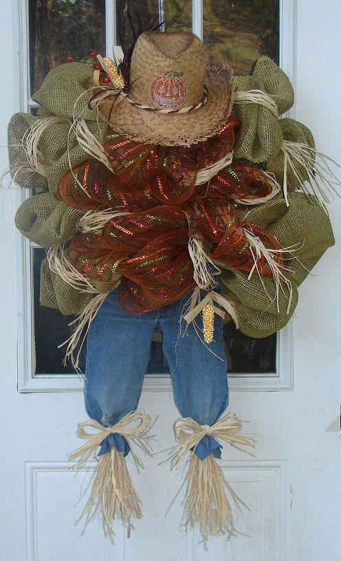 Harvest Scarecrow Wreath Harvest Wreath Fall Wreath by InSeason, $125.00