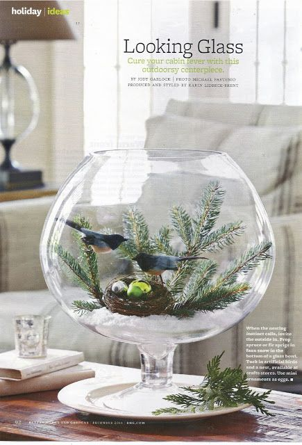 Karin Lidbeck: centerpiece. Any glass container, even a fish bowl. Place artificial snow or salt at bottom for base. Add greenery from outside and birds & nest from craft store and done!