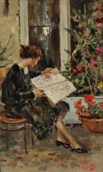 Women Reading - simena: Vincenzo IROLLI