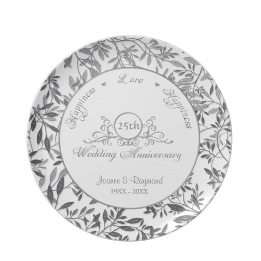 Leaves Of Silver 25th Wedding Anniversary Plate 25