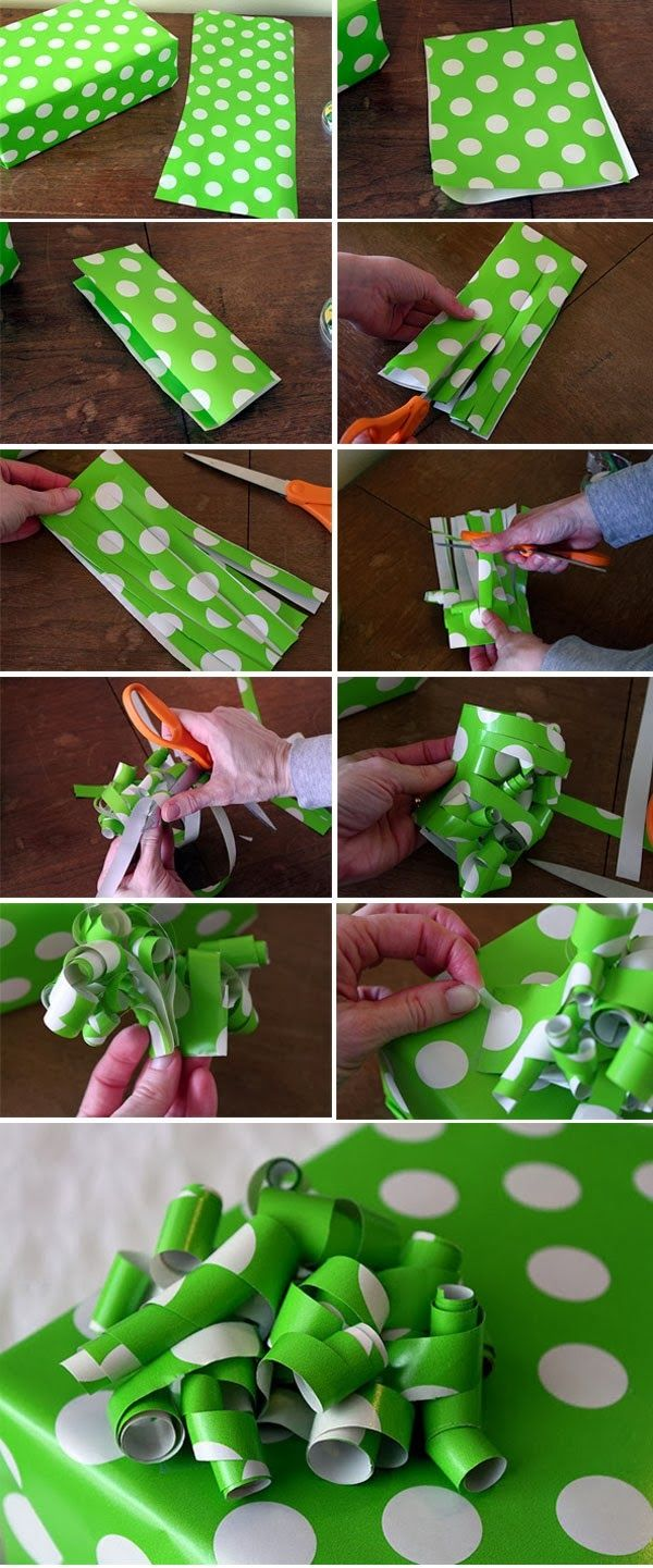 How to make a Wrapping paper bow **Note** just used this method last night to make some Christmas decor (wrapping my pictures on the walls so they looks like presents) and it works AWESOME. They only thing is, make sure you use good paper, and have a good, sharp pair of scissors because that paper is still so delicate. -KP