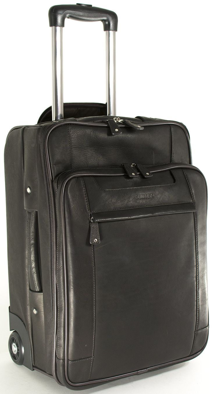 Cortez leather laptop cabin size wheeled hand luggage for Laptop cabin bag