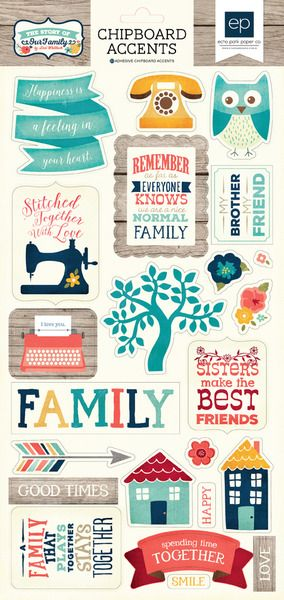 Echo park the story of our family collection chipboard stickers