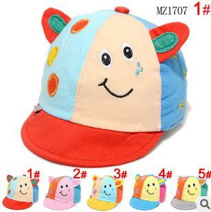 New 2014 Spring Cute Cows Cartoon Designer Hats For Baby Boys & Girls Cotton Duckbill Caps 5 Colors