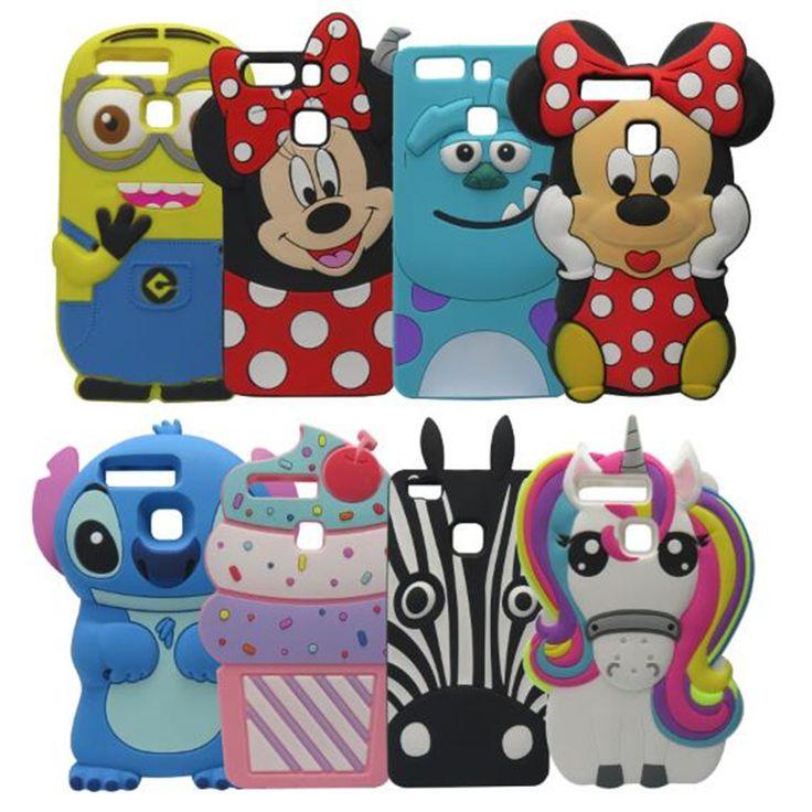 3d lindo de la historieta frente color unicornio bolsas case cubierta del teléfono móvil de silicona suave para huawei p9/p9 lite