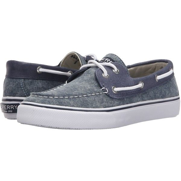 Sperry Top-Sider Bahama 2-Eye White Cap (Navy) Men's Lace up casual... ($43) ❤ liked on Polyvore featuring men's fashion, men's shoes, navy, sperry mens shoes, mens white boat shoes, mens cap toe shoes, mens sperry topsiders and mens lace up shoes