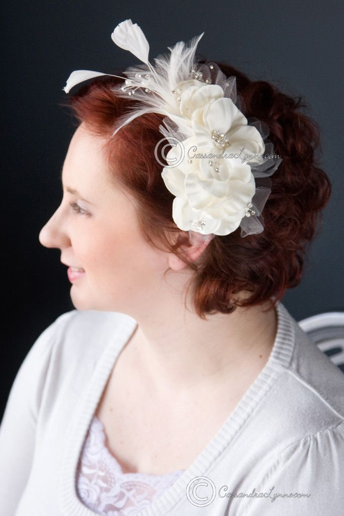 Ivory Bridal Hair Flower with Feathers & Pearls