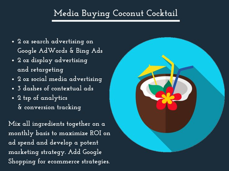 The Media Buying Coconut Cocktail: Mix all ingredients together on a monthly basis to maximize ROI on ad spend and develop a potent marketing strategy. Add Google Shopping for ecommerce strategies.