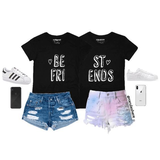 fa58ab71 Cute best friends heart matching t-shirts styled with an awesome outfit  look. Share with your bestie. SHOP NOW at noruleshere.com #memes #fun  #fashion ...