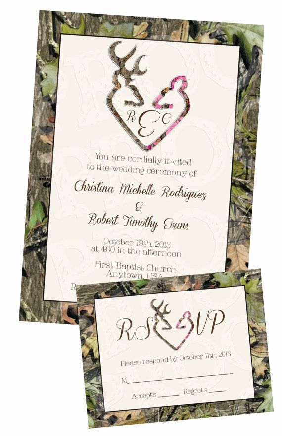Hey, I found this really awesome Etsy listing at https://www.etsy.com/listing/165315019/camo-deer-hearts-wedding-invitation-and
