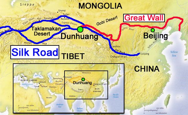 Great Wall and Silk Road map | DBQ Great Wall Unit ...