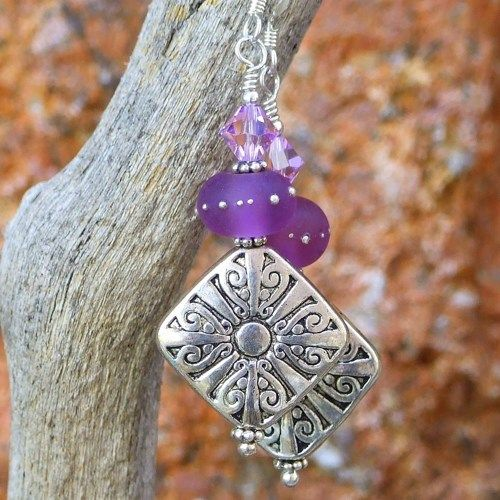 Pewter Cross Earrings Swirls Handmade Purple Lampwork Crystal Jewelry | ShadowDogDesigns - Jewelry on ArtFire