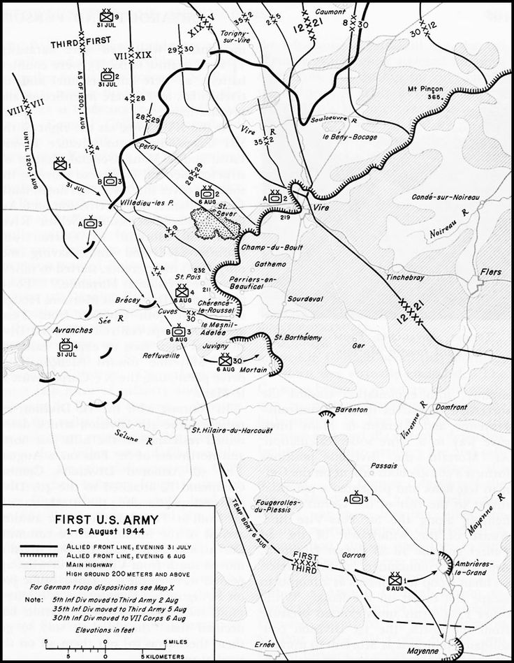 1st US Army 1-6 August 1944