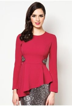 Embellished Asymmetric Peplum Top