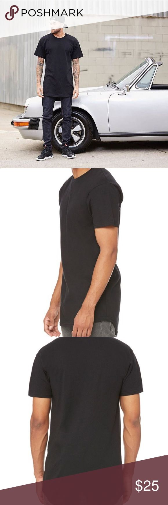 Extra Long Body T-Shirt | black Rolled cap sleeves and an elongated silhouette define a modern, lightweight T-shirt that lengthens your profile.  Crewneck Longer body Rounded- bottom hem. Drop tail Curved hem 50% viscose, 50% polyester Machine wash warm, dry flat Nordstrom Shirts Tees - Short Sleeve