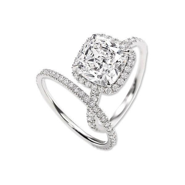 Harry Winston Cushion-Cut Diamond Engagement Ring and Band