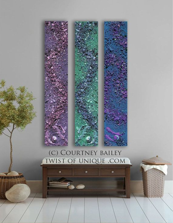 Concrete Abstract paintings 3 panel CUSTOM absract by Courtney Bailey