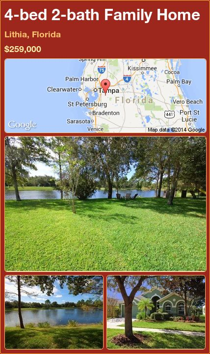 4-bed 2-bath Family Home in Lithia, Florida ►$259,000 #PropertyForSale #RealEstate #Florida http://florida-magic.com/properties/71714-family-home-for-sale-in-lithia-florida-with-4-bedroom-2-bathroom