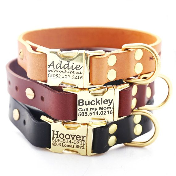 Classic Personalized Leather Dog Collar with Brass Buckle  -- 3 colors to choose from on Etsy, $47.00