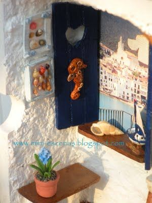 A detail of my miniature Mediterranean roombox (Handmade by Eva Perendreu)