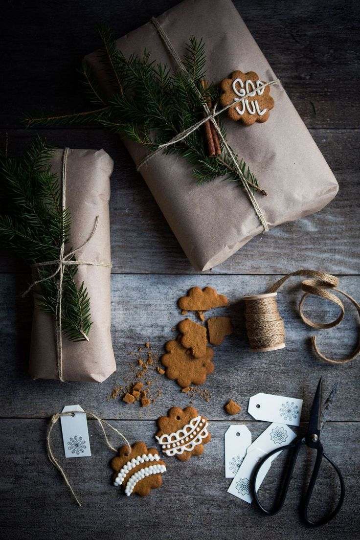 Brown paper and gingerbread biscuits.