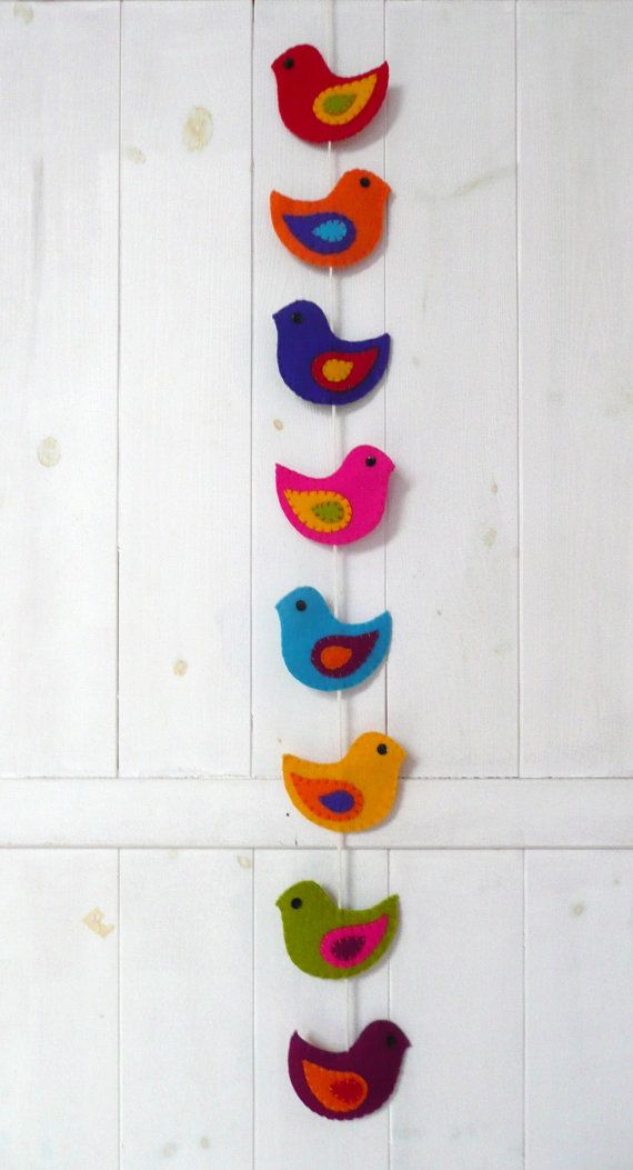 Colorful felt birds wall hanging by HetBovenhuis on Etsy, $34.99